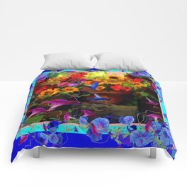 Blue Morning Glories Floral Still life Comforters