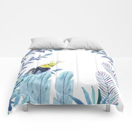 Cockatiel with tropical foliage Comforters