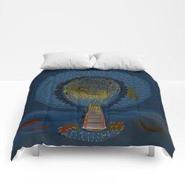 Tree Cactus in a Blue Desert Comforters