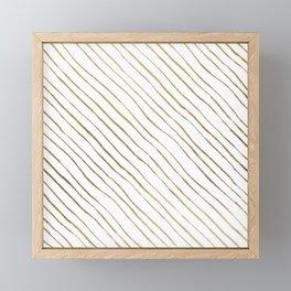 Elegant geometrical faux gold foil stripes Framed Mini Art Print