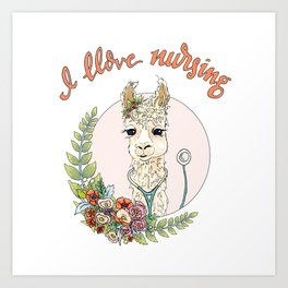I Llove Nursing Llama Art Print
