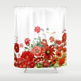 Vintage & Shabby Chic - Red Summer Flower Garden Shower Curtain