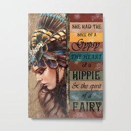 Flower Children Native American Girl Has Gypsy Soul Metal Print