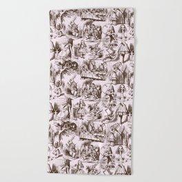 Alice in Wonderland   Toile de Jouy   Brown and Pink Beach Towel