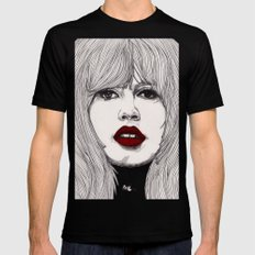 Brigitte with Red Lips Black Mens Fitted Tee LARGE