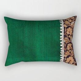 -A11- Tradtional Textile Moroccan Green Artwork. Rectangular Pillow