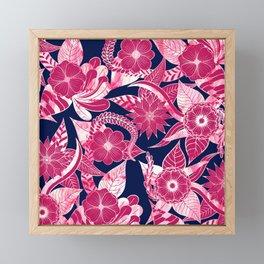Artsy Modern Fuschia Navy Acrylic Floral Leaves Framed Mini Art Print