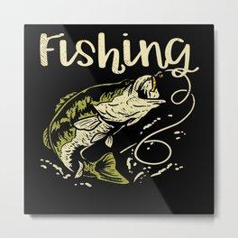 Farmer Fishing Agronomist Angler Fishing Metal Print