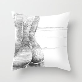 line drawing of a nude girl Throw Pillow