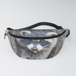 Raccoon Playing chase Fanny Pack