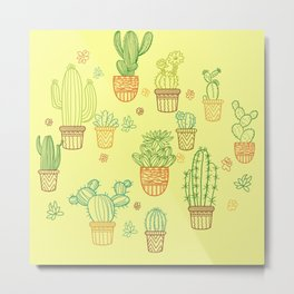 cheerful yellow cactus Metal Print