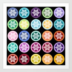 Colorful Snowflake Print: Black Art Print