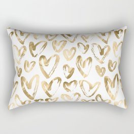 Gold Love Hearts Pattern on White Rectangular Pillow