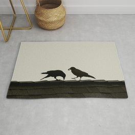Two Crows on a Rooftop - Graphic Birds Series, Plain - Modern Home Decor Rug
