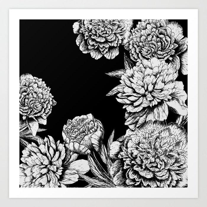 FLOWERS IN BLACK AND WHITE Kunstdrucke