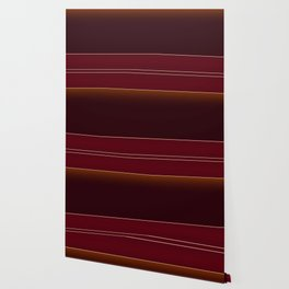 Rich Burgundy Ombre with Gold Stripes Wallpaper
