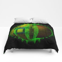 Yellow Layered Star in Green Flames Comforters