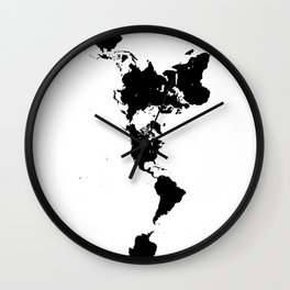 Dymaxion World Map (Fuller Projection Map) - Minimalist Black on White Wall Clock