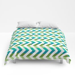 Chevron Picnic Time - Geometric pattern with blue and green Comforters