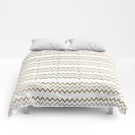 Elegant faux gold white chevron zigzag geometrical pattern Comforters