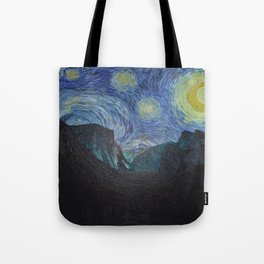 Vincent Van Gogh's Starry Night Over Yosemite National Park Tote Bag