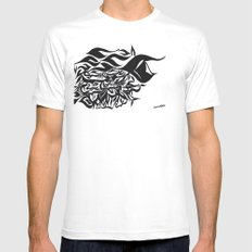 wave design 1.0 White MEDIUM Mens Fitted Tee