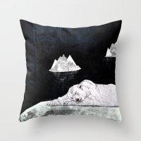 polar bear Throw Pillows featuring Polar Bear by Sandra Dieckmann