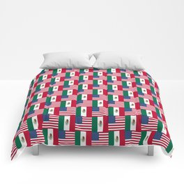 Mix of flag : mexico and usa Comforters