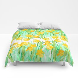 Colorful hand painted watercolor daffodil flowers  Comforters