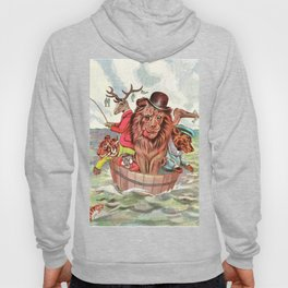 Humanized Comic Animals in a Tub at Sea by Louis Wain Hoody