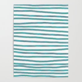 Ocean Green Hand-painted Stripes Poster