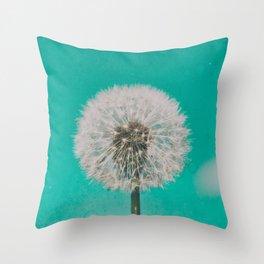 Green Blue Dandelion Throw Pillow