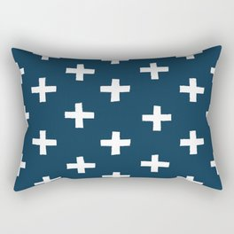 SWISS CROSSES - NAVY and WHITE Rectangular Pillow
