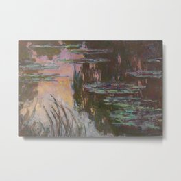 Water-Lilies, Setting Sun by Claude Monet Metal Print