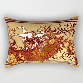 White Unicorn in Coffee Browns Rectangular Pillow