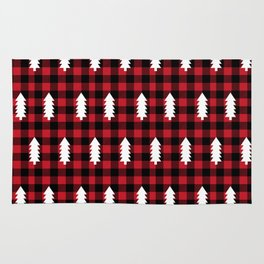 Camping Forest cabin chalet plaid red black and white minimal hipster gifts for festive christmas Rug