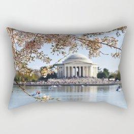 Cherry Blossoms at the Jefferson Memorial Rectangular Pillow