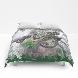 Colourful Chameleon Wrapped Around A Branch Comforters