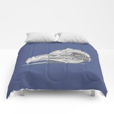 Barn Owl Skull Muted French Blue Comforters