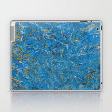 Blue and Gold marbled stone Laptop & iPad Skin