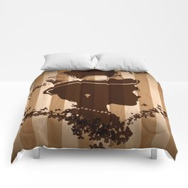 Steampunk Silhouette  Comforters