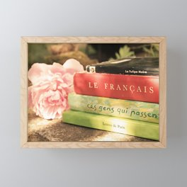 Pink Peony and French Books Still Life Framed Mini Art Print