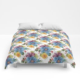 Colorful tropical flowers bouquet pattern Comforters
