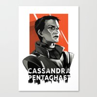 dragon age inquisition Canvas Prints featuring Dragon Age Inquisition - Cassandra Pentaghast by Deák Dorottya
