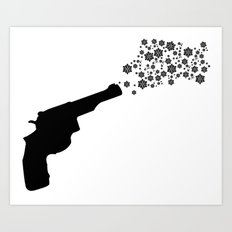 A Snowflake Shot Art Print
