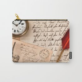 Vintage Old Paper Pen Watch Writing Stamp Postcard Carry-All Pouch