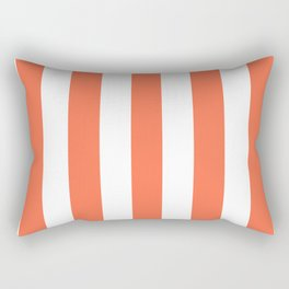 Outrageous Orange - solid color - white vertical lines pattern Rectangular Pillow