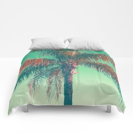Red palm tree Comforters