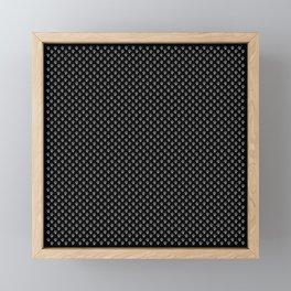 Tiny Paw Prints Grey on Black Pattern Framed Mini Art Print
