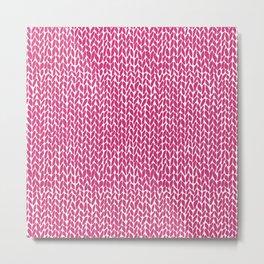 Hand Knit Hot Pink Metal Print